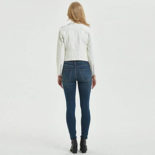 Outwear Moda Jacket Fresco White Corta Damas Primavera zip Mujer De Chaqueta Chicas Ideal Para Otoño Multi Solapa Cjjc Cuero Biker 7RUfInq