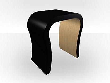 Curved Black Matt Bedside Table