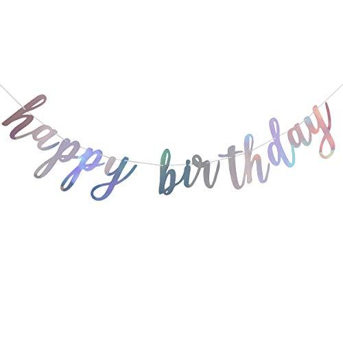 Shiny Happy Birthday Banner Sign Garland,Birthday Party 1st Birthday Party Decoration Supplies ()