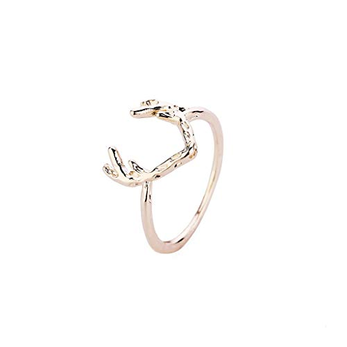 Appoi Jewelry Rings for Teen Girls Stack Rings Sika Deer Antlers Rhinestone Joint Knuckle Nail Ring Set (Rose Gold, Size: 2.3CMX1) (White Agate Gold Rose)