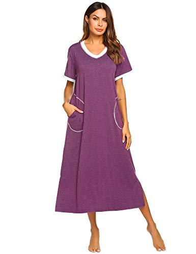 Ekouaer Women's Nightgown Comfy Sleepwear Lounge Dress (Eggplant Purple, Small)