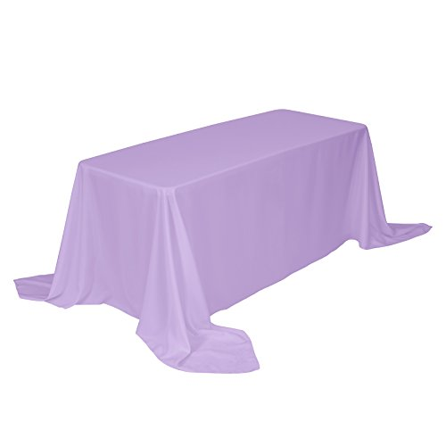 VEEYOO Rectangular Tablecloth 90 x 156 inch - Solid Polyester Table Cover for Wedding Restaurant Party Buffet Table, Lavender Table Cloth