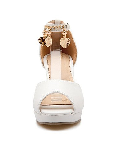 Pink Toe Heel Platform Shoes Party White ShangYi Evening amp; Casual Sandals Chunky Pink Peep Blue Women's Dress tqa1WwBxX