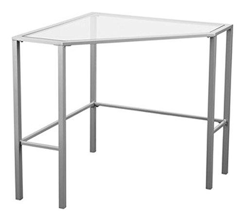 Southern Enterprises Keaton Glass Top Metal Corner Desk in Silver