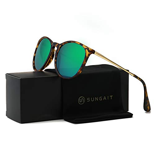 SUNGAIT Vintage Round Sunglasses for Women Classic Retro Designer Style (Amber Frame(Matte Finish)/Green Lens)