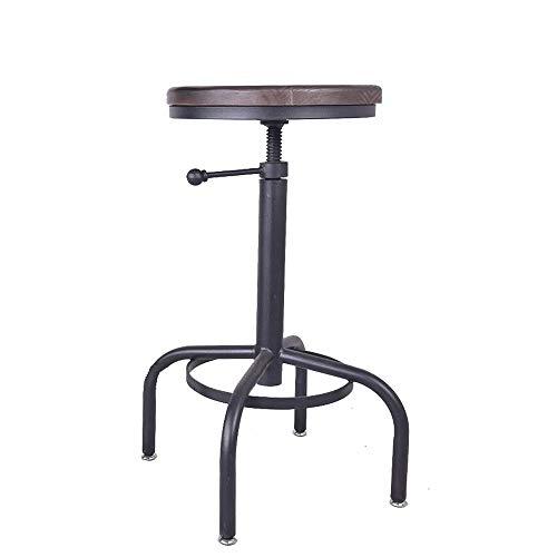 rial Bar Stool Vintage Swivel Coffee Counter Chair Kitchen Dining Wood Seat Iron Frame Height Adjustable ()