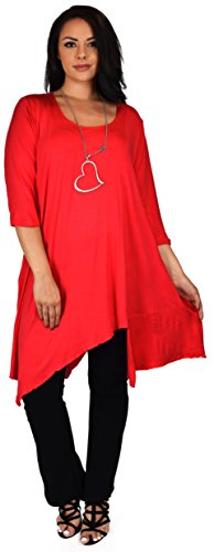 (Dare2BStylish Women Plus Size Asymmetrical Long Tunic Shirt Dress Top (3X/4X, Red))