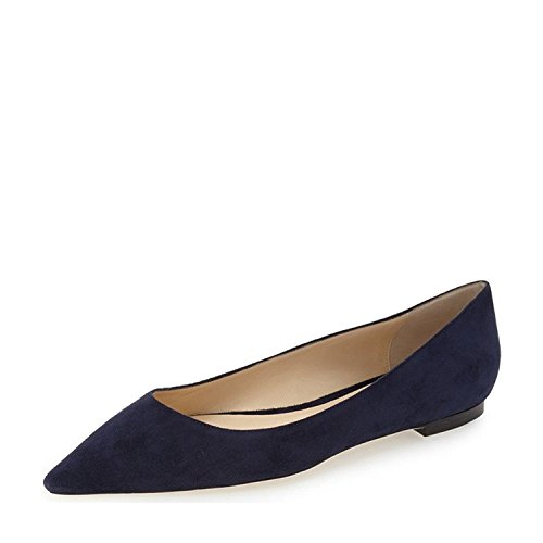 YDN Women Classic Pointy Toe Flats Suede Casual Shoes Low Cut Slip on Soft Dark Blue 11