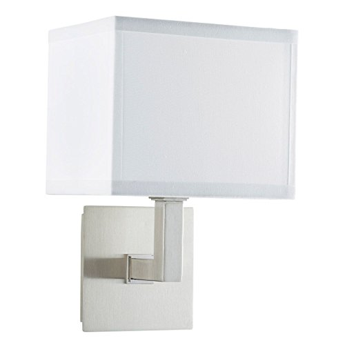 Sofia Wall Sconce Light - Brushed Nickel w/ White Fabric Shade - Linea di Liara LL-WL350-1-BN