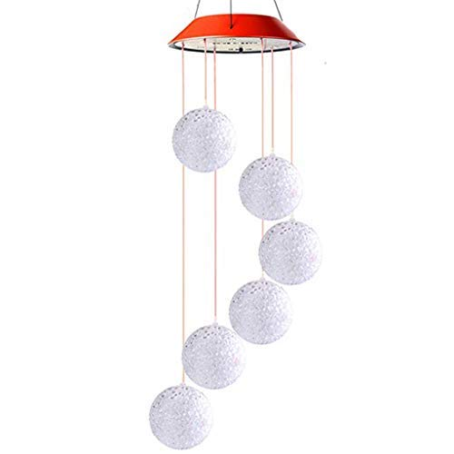 - Wind Chimes Outdoor - Ball Shape Solar Powered LED Light - Color Changing Mobile Portable Waterproof Outdoor Decorative Romantic Wind Bell Light for Patio Yard Garden Home (A)