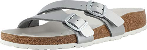 Birkenstock Women's Yao Hex Sandal Metallic Silver Birko-Flor Size 41 N EU