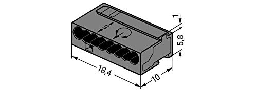 18,4 mm, 6,8 mm, 6 A Wago 243-208 6A Conector