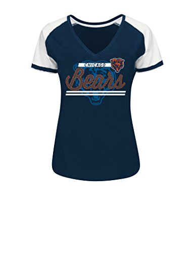 NFL Chicago Bears Women's Primed To Play Tee, Large, Traditional Navy/White