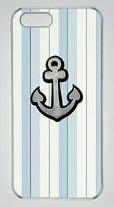 Anchor On Light Color Stripe DIY Hard Shell Transparent iphone 5/5s Case On Custom Service