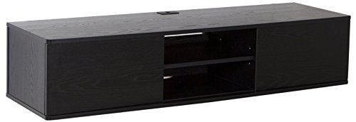 South Shore Floating Wall Mounted Media Console, Black Oak (Tv Sliding Cabinet Door)