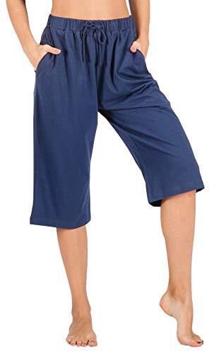 WEWINK CUKOO 100% Cotton Women Pajama Capri Pants Lounge Pants with Pockets Sleepwear Blue