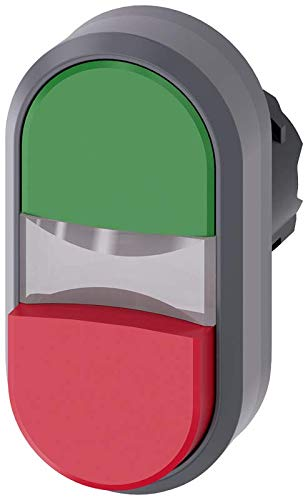 Siemens 3SU10313BB420AA0 Illuminated Twin Pushbutton, Green, Red, Plastic with Metal Front Ring, IP66, IP67, IP69K Protection Rating, Matte Metal, 22mm, Green/Red