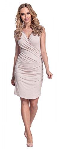 Glamour Empire Femme Robe plissée. Décolleté cache-coeur. Ourlet asymétrique 045 (écru, 38)