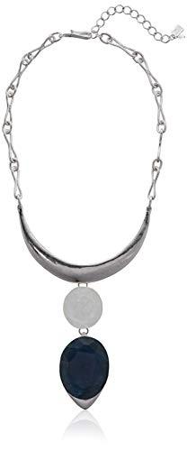 Robert Lee Morris Women's Geometric Stone Double Drop Frontal Necklace, Blue, One Size ()