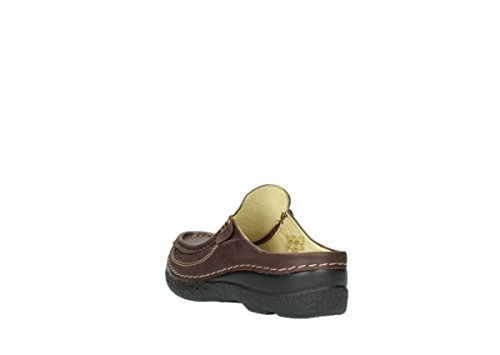 Leather Confort Mottled Sabots Wolky Burgundy Slide Metallic Rouleau 10620 vUq4wxFw6n
