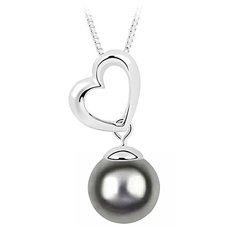 Le Premium Heart Shell Pearl Pendant Necklace With 12mm Dark Grey Pearl Rhodium Plated