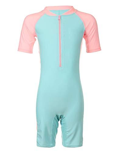 Girls Short Sleeves Swimwear, One Piece Zipper Swimsuit Sun Protection Bathing Suit Boy-Leg Rash Guard Surfing Suit for Kids ()