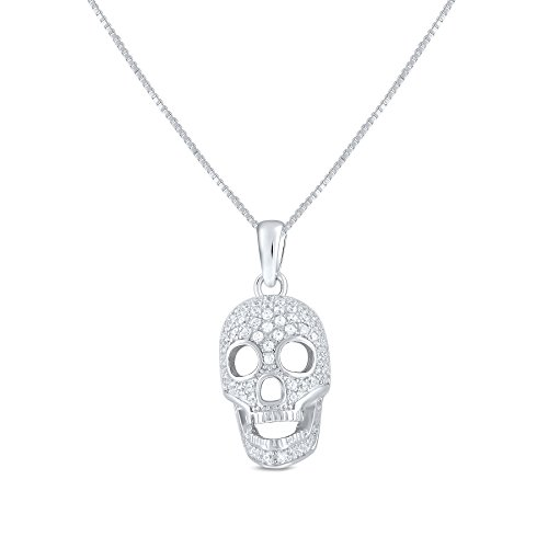 Sterling Silver Cz Skull Charm Necklace 18