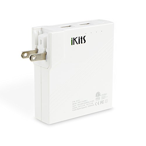 [ETL Listed] iKits 5200mAh 2-in-1 Power Bank with Built-in AC Plug, Pass-Through Battery Pack with Foldable Plug Dual Port USB Wall Charger/AC Battery Pack for iPhone/iPad Samsung & etc. White