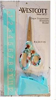 Westcott Products 3pcs Tape Dispenser Ruler Scissors 8'' (Aquamarine)
