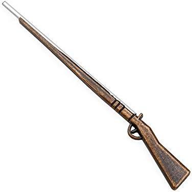 Dollhouse Artisan Carved Wood Flintlock Rifle with Powder Horn 1:12 Miniature