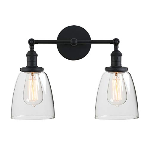 Light Artistic Bath - Phansthy 2-Light Vintage Style Industrial Wall Light Sconce Light Fixture with 5.6Inches Oval Cone Clear Glass Shade (Black)