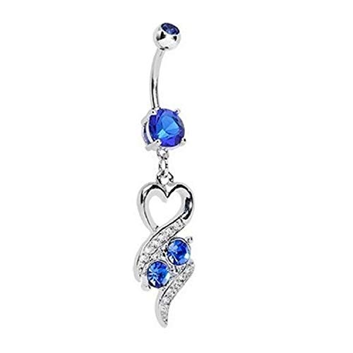 Butterfly Dangle Navel (Power Wing Belly Button Rings Dangle Sexy Heart Butterfly Infinity Set Surgical Steel 14G Bar Navel Rings Jewelry for Women)
