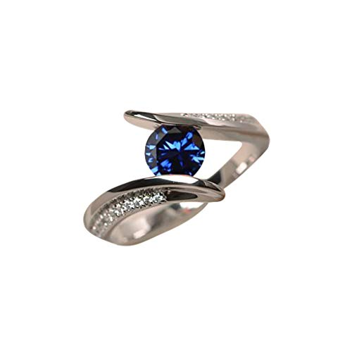 - winsopee Promise Rings,Fashion Trend Simple Blue Topaz Diamond Smooth Ladies Ring Jewelry for Women (Blue,7)