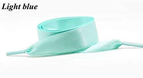 TMYQM 1対3 cm幅80/100/120/140/160センチフラットシルクリボンナイロン靴ひもリボンレーススニーカースポーツカジュアル靴ひもをダブル両面 (Color : Light Blue, Size : 80cm)