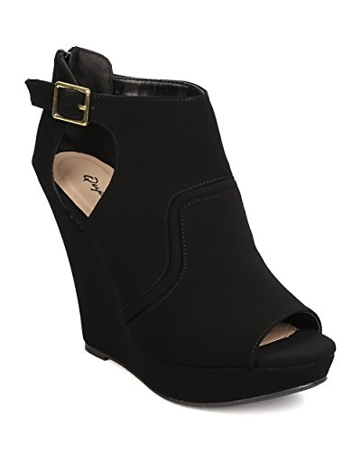 Qupid FC24 Women Nubuck Peep Toe Cut Out Platform Wedge Bootie - Black