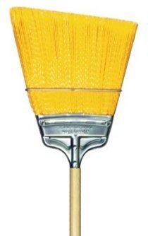 Milwaukee Dustless Brush 437310 Yellow Flagged Polypropylene Angled, Large Flare, Wood Handle, Upright Broom, Case Of 12 by Gordon Brush