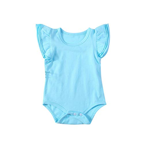 Lovely Newborn Infant Baby Girl Ruffles Sleeve Solid Color Cotton Baby Bodysuit Jumpsuit Playsuit Outfit Baby Clothes 0-24M(9M,Blue) ()