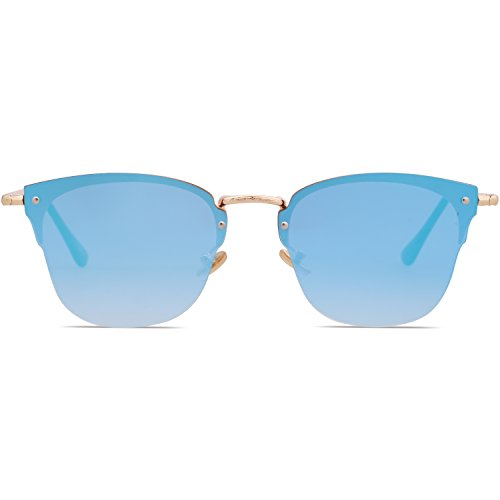 sol Brazo Espejo lente montura Gafas transparente Dorado Lente SJ5018 SOJOS de Azul 1071c5 Semi polarizadas sin Clubmaster qExWSAZ7
