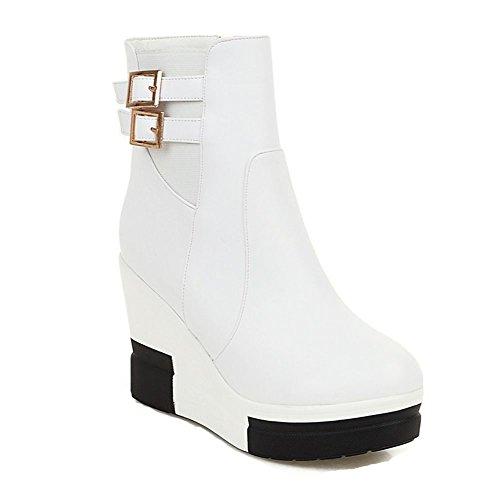 9 Botas cuña medio de alto para Blanco Tamaño Mujeres Plataforma PU tobillo de mujer invierno 3 de tacón DecoStain de PxUCwn