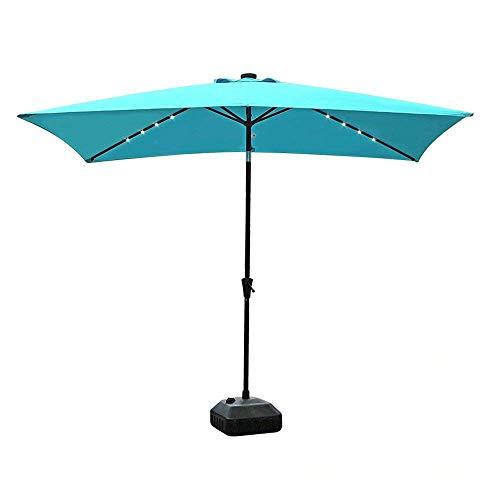 COBANA 9.8′ by 6.6′ 22 Solar Powered LED Lighted Outdoor Table Umbrella Aluminum Patio Umbrella, Blue