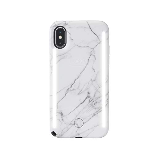 LuMee Duo Phone Case, White Marble | Front & Back LED Lighting, Variable Dimmer | Shock Absorption, Bumper Case, Selfie Phone Case | iPhone Xs Max Only