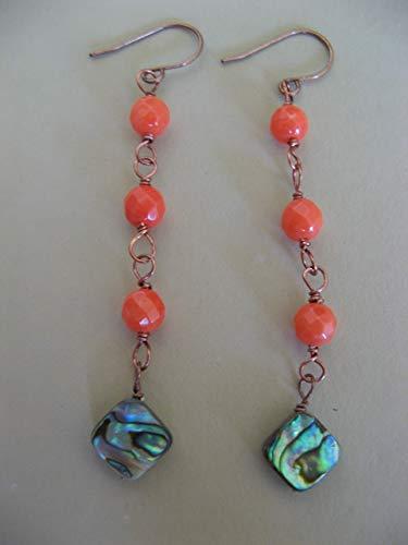 Abalone Shell and Orange Coral Copper-Tone Earrings Boho Artisan Beach Jewelry