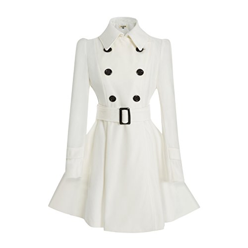 ForeMode Women Swing Double Breasted Wool Coat with Belt Buckle Spring Mid-Long Long Sleeve Lapel Dresses Outwear(White -