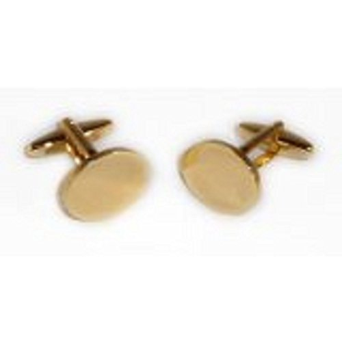 (Gtr Men's Cufflinks Plain Oval 19X15Mm Gold Plated Engraveable (X2N9981) One Size)