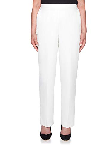 Alfred Dunner Women's Petite Stocking Stuff Microfiber Pants - Medium Length, Ivory, 8 Petite