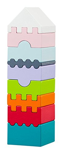 Wise Elk Wooden Toy Wood Puzzle Tower, Organic, 9 Colorful Blocks, Made from Premium Wood Grown in Mountains, Best Toys for Toddlers, Educational Gift (Pyramid Puzzle Wood)