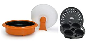 Microhearth 1.5-Quart Nonstick 4-piece Everyday Pan Set for Microwave Cooking, Orange (B003M6II4O) | Amazon price tracker / tracking, Amazon price history charts, Amazon price watches, Amazon price drop alerts