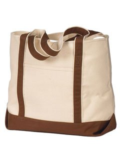Hyp HY801 16 oz Beach Tote Bag - Natural/Chocolate - OS ()