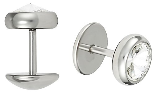 Forbidden Body Jewelry 16g 8mm Surgical Steel Crystal Cheater Plug Earrings, Fake 0 Gauge Earrings