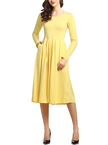 Beluring Womens Long Sleeve Pleated Cotton Midi Fall Winter Dress Yellow Small